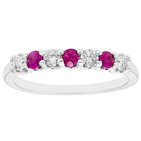 Ruby & 0.14 CT. T.W. Diamond Band in 14K White Gold