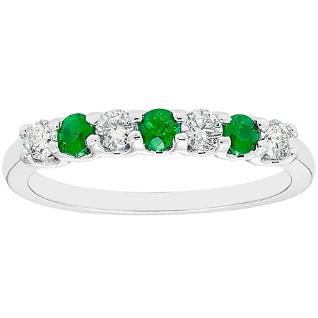 Emerald & 0.28 CT. T.W. Diamond Band in 14K White Gold