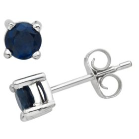 4.5mm Round Sapphire Earrings in 14K Gold