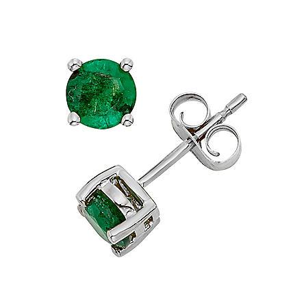4.5mm Round Emerald Earrings in 14K Gold