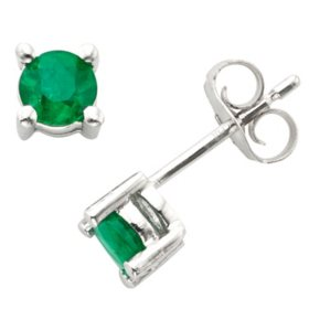 4.5mm Round Emerald Earrings in 14K Gold