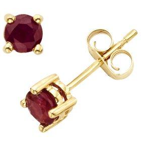4.5mm Round Ruby Earrings in 14K Gold