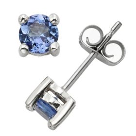 4.5mm Round Tanzanite Earrings in 14K Gold