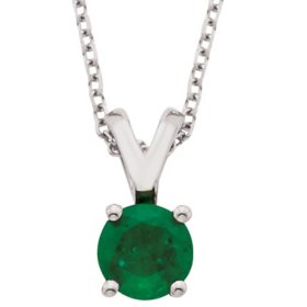 4.5mm Round Emerald Pendant in 14K Gold