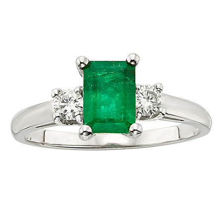 Three Stone Octagonal Emerald Ring with .20CT. T.W. Diamond Set in 14K Gold