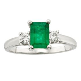 Three Stone Octogonal Emerald Ring with .20CT. T.W. Diamond Set in 14K Gold