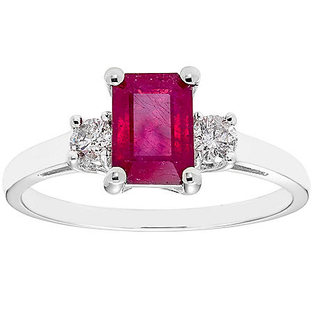 Three Stone Octagonal Ruby Ring with .20CT. T.W. Diamond Set in 14K Gold