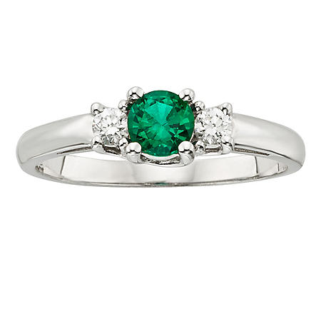 Three Stone Emerald Ring with .14CT. T.W. Diamond Set in 14K Gold