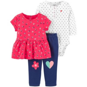 Carter's 3-Piece Girls' Bodysuit Pant Set