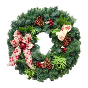 "Fresh Greens 24"" Cozy Christmas Wreath"