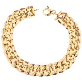 High Polish Woven Bracelet in 14K Yellow Gold