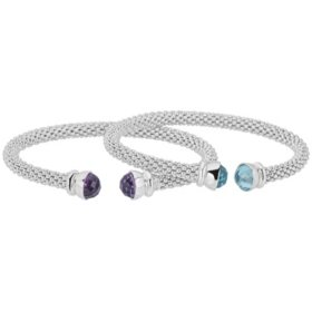 Set of Amethyst and Sky Blue Topaz Gemstone Bangles in Italian Sterling Silver