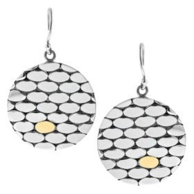 Sterling Silver Disc Earring with 18K Gold Accent by Robert Manse Desgisn