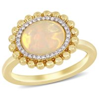Oval-Cut Yellow Ethiopian Opal and Diamond Accent Double Halo Ring in 14K Yellow Gold