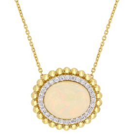 5 CT. Oval-Cut Yellow Ethiopian Opal and 0.25 CT. Diamond Double Halo Necklace in 14k Yellow Gold