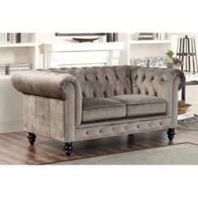 Davenport Velvet Loveseat (Assorted Colors)