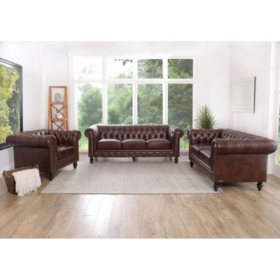 Rockford Brown Top-Grain Leather 3-Piece Set