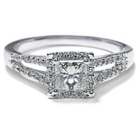 Premier Diamond Collection 1.03 CT. T.W. Princess Shape Diamond Halo Ring in 18K White Gold - GIA & IGI (G, SI1)