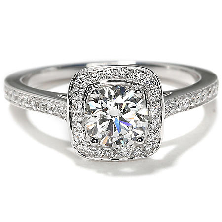 3781dc33c Premier Diamond Collection 1.13 CT. T.W. Round Shape Diamond Halo Ring in 18K  White Gold