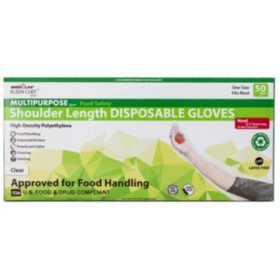 Kleen Chef Disposable Shoulder Length HDPE Gloves, Clear (35.5 Length., 200pk.)