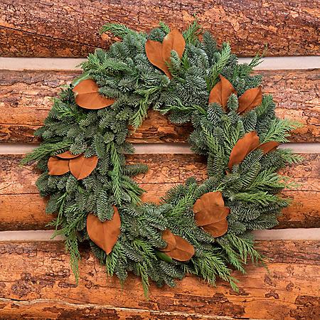 "Fresh Greens 24"" Magnolia Wreath"