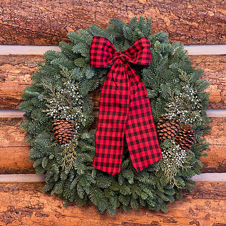 "Fresh Greens 24"" Christmas Cabin Wreath"
