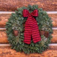 "Fresh Greens 24"" Christmas Cabin Wreath"