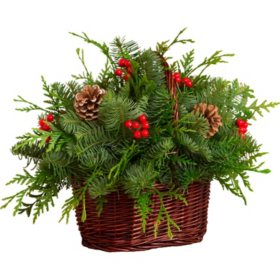 Fresh Greens Christmas Basket Centerpiece