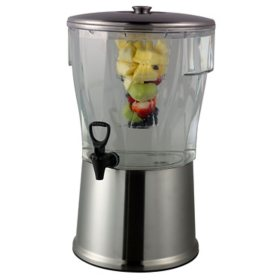 Round Cold Beverage Dispenser, Transparent/Brushed Stainless (5 gal.)