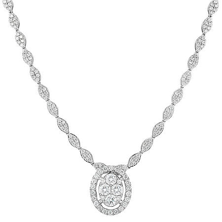 2.95 CT. T.W. Diamond Necklace in 14K White Gold