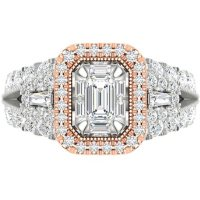 1.95 CT. T.W. Diamond Bridal Ring in 14k Two Tone Gold