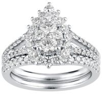 1.50 CT. T.W. Pear Shape Diamond Engagement Ring in 14k White Gold