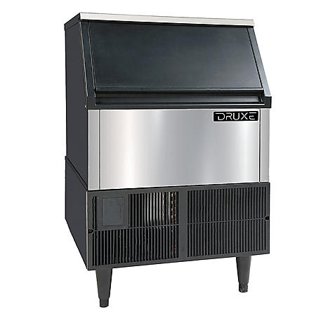 DRUXE 260-Pound Freestanding Icemaker, Stainless Steel Front with Black Exterior Sides
