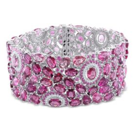 Allura 1 CT. T.W. Diamond, 86.63 CT. T.W. Pink Tourmaline and Pink Sapphire Bracelet in 14K White Gold, 7.25""