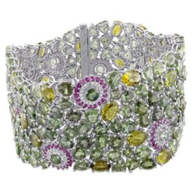 Allura 0.80 CT. T.W. Diamond and 277.8 CT. T.W. Pink Sapphire, Green Tourmaline and Green Sapphire Bracelet in 14K White Gold, 7.25""
