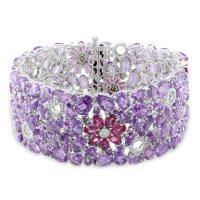 "Allura Pink Tourmaline and Amethyst and 0.68 CT. T.W. Diamond Cuff Bracelet in 14K White Gold, 7"""