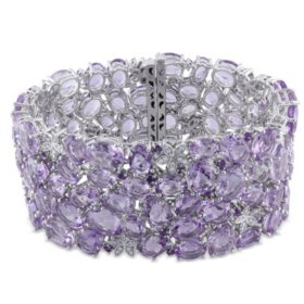 """Allura 0.50 CT. T.W. Diamond and 108.8 CT. T.W. Amethyst and Rose de France Bracelet in 14K White Gold, 7"""""""