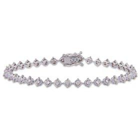 "Allura 1.13 CT. T.W. Diamond Halo Tennis Bracelet in 14K White Gold, 7"""