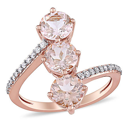 2.55 CT. T.W. Morganite and 0.14 CT. T.W. Diamond Three-Stone Ring in 14K Rose Gold