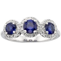Three Stone Blue Sapphire and 0.19 CT. T.W. Diamond Ring in 14K White Gold