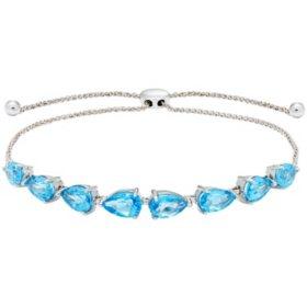 Blue Topaz Sterling Silver Bolo Bracelet
