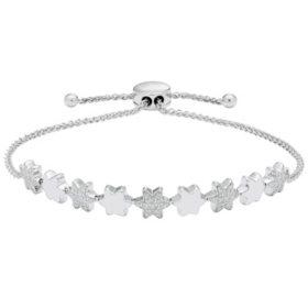 0.18 CT. T.W. Sterling Silver Diamond Star Bolo Bracelet