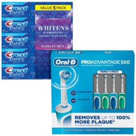 Oral-B PROAdvantage 500 Rechargeable Toothbrush & Crest 3D White Toothpaste