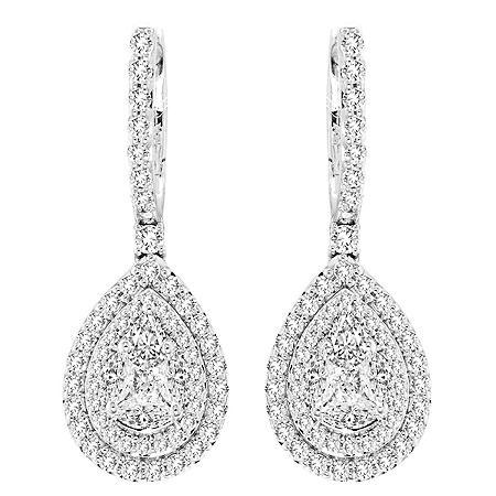 1.0 CT. T.W. Double Halo Pear Shaped Dangle Earrings in 14 Karat White Gold