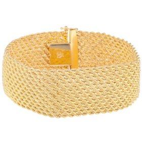 "14k Yellow Gold 13-Row Rope Bracelet, 7.50"""