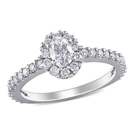 Allura 1 CT. T.W. Oval Halo Diamond Engagement Ring in 14k White Gold