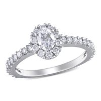 Allura 0.95 CT. T.W. Oval Halo Diamond Halo Engagement Ring in 14k White Gold