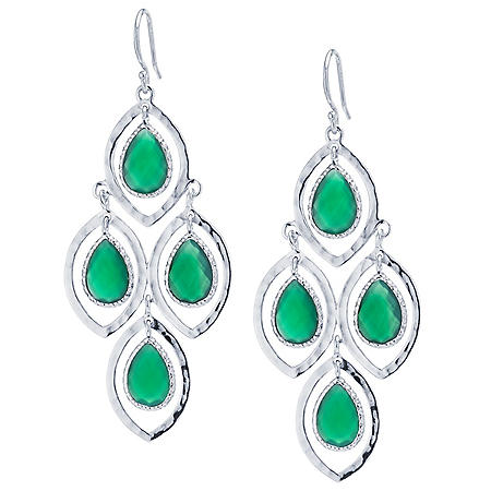 Hammered Sterling Silver and Faceted Green Onyx Chandelier Earrings