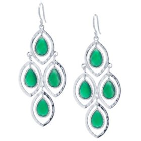 e4b654cf2 Hammered Sterling Silver and Faceted Green Onyx Chandelier Earrings - Sam's  Club