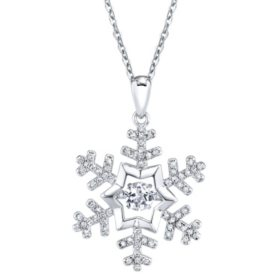 Sterling Silver White Topaz Dancing Snowflake with 0.14 CT. T.W. Diamond Pendant